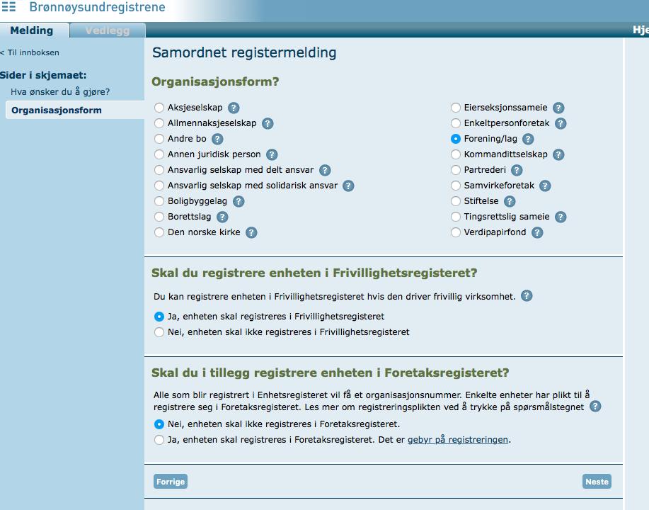 registrere organisasjon i brønnøysundregisteret
