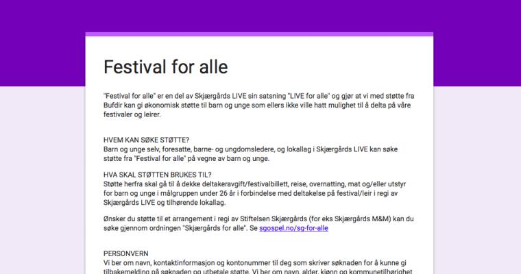 Festival for alle – søknadsskjemaet er åpent!